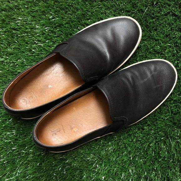 Frye Black Leather Slip On Shoes Ivy